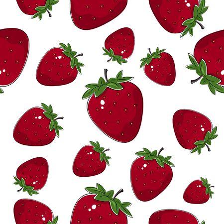Seamless Pattern of Strawberry, Fruit Pattern, Berry Pattern