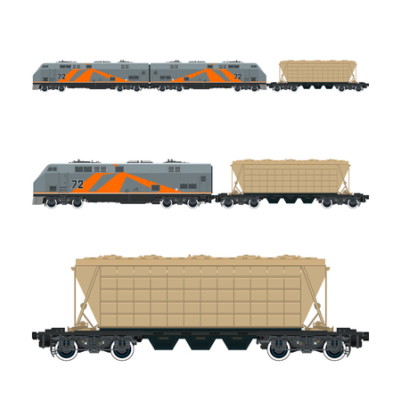 boxcar: Locomotive with Hopper Car for Transportation Freights , Train Isolated, Railway and Cargo Transport, Vector Illustration Illustration