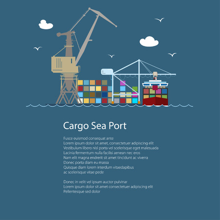 Seaport with Container Ship and Text , Unloading Containers from a Ship in a Docks with Cargo Crane, International Freight Transportation, Poster Brochure Flyer Design, Vector Illustration Illustration