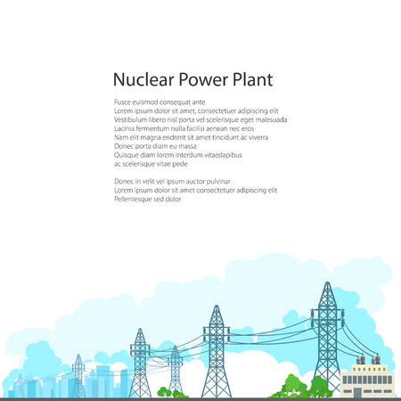 amperage: High Voltage Power Lines Supplies Electricity to the City, Electric Power Transmission on White Background and Text, Poster Brochure Flyer Design, Vector Illustration Illustration
