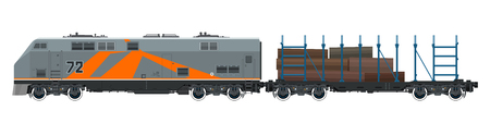 Orange Locomotive with Railway Platform for Timber Transportation, Train on White Background, Railway and Cargo Transport, Vector Illustration