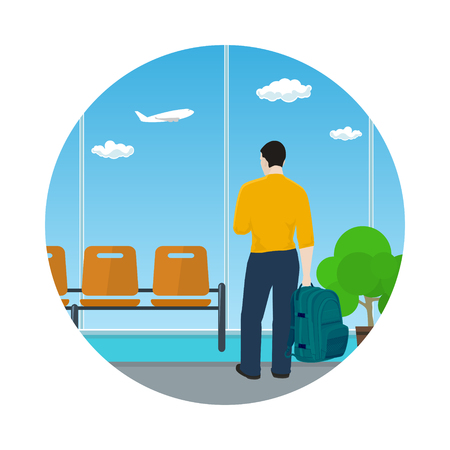Man with a Backpack Looking out the Window in a Waiting Room, Icon Waiting Hall with a Guy, Travel and Tourism Concept, Flat Design, Vector Illustration
