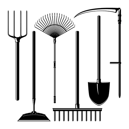 unearth: Set of Silhouette Agricultural Tools Isolated on White Background, Garden Equipment , Pitchfork and Hoe, Rake and Shovel with Scythe, Vector Illustration