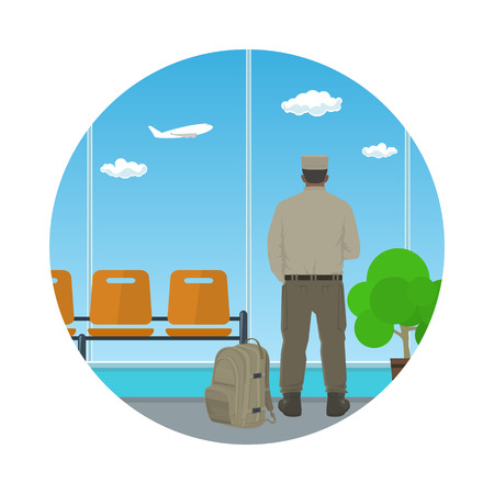 waiting room: Man in Uniform Looking out the Window in a Waiting Room, Icon Waiting Hall with a Man, Flat Design, Vector Illustration Illustration