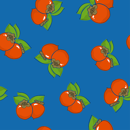Seamless Pattern of Persimmon , Fruit on Blue Background, Vector Illustration