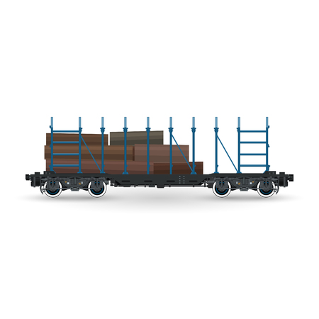 Railway Platform for Timber Transportation Isolated, Train with Timber Illustration