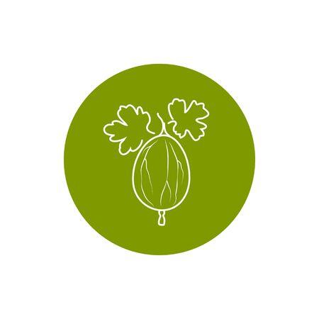 Gooseberry, Colorful Round  Icon Gooseberry, Fruit Icon, Berry Icon Stock Photo