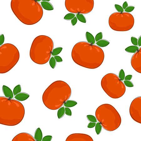 Seamless Pattern of  Mandarin , Fruit Pattern, Citrus Pattern Stock Photo