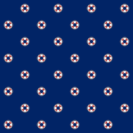 Nahtloses Muster mit Lifebuoy auf einem blauen Hintergrund, nahtloses Muster mit Marine Element für Webdesign oder Tapete oder Gewebe Standard-Bild - 75592014