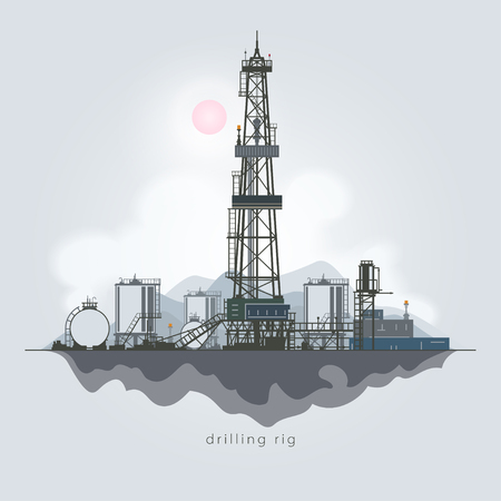 borehole: Drilling Rig in the Background of Mountains, Oil Rig, Oil Well Drilling, Oil or Natural Gas Drilling Rigs with Outbuildings and Tanks and Cisterns