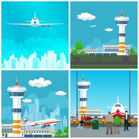 Airport Terminal , Waiting Room with People , Runway at the Airport with Control Tower ,Airplane Takes Off, Plane in the Sky, Travel and Tourism Concept, Vector Illustration