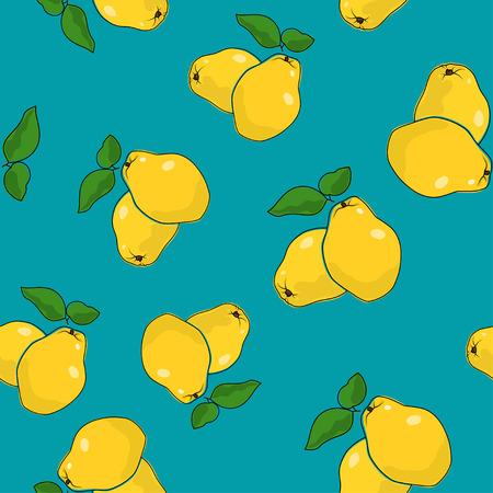 membrillo: Patrón sin fisuras de membrillo, frutas en el fondo azul, ilustración vectorial Vectores
