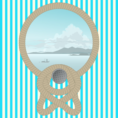 View from the Cabin to the Ocean Bay with Mountains and a Ship , Sea Picture with a Rope on Blue Striped Wall, Vector Illustration