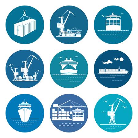 海上貨物輸送業、海上交通機関アイコン、ベクター グラフィックの設定します。