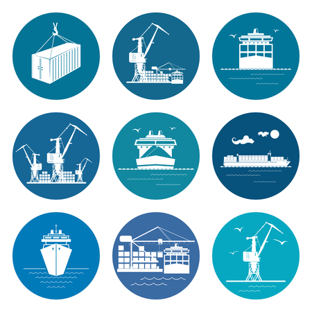 Ocean Freight Transportation Services, Set of Marine Freight Transportation Icons,Vector Illustration