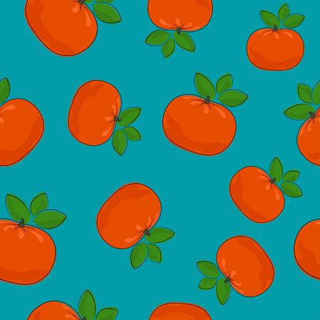 Seamless Pattern of Mandarin , Fruit Tropical Citrus Pattern, Tangerine on Azure Background , Vector Illustration