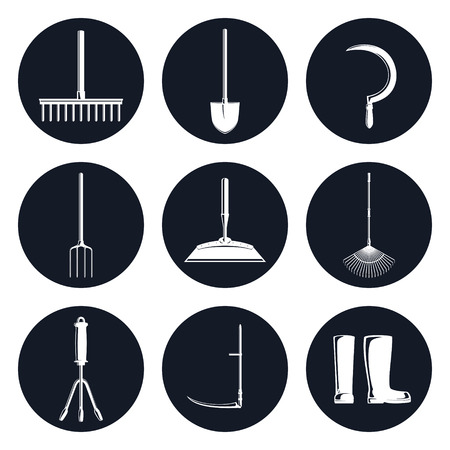 Set of Round Monochrome Icons Garden Equipments, Garden Rake and Spading Fork, Leaf Rake and a Sickle ,a Hoe and a Shovel, Hand Rake and a Scythe , Working Rubber Boots , Vector Illustration Illustration