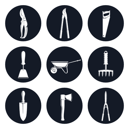 pruning: Set of Round Monochrome Icons Garden Tools, Gardening Trowel and a Hand Hoe , an Axe and a Hand Rake ,a Pruning Shear and Loppers , Shrub Shears and a Rip Saw , a Wheelbarrow, Vector Illustration