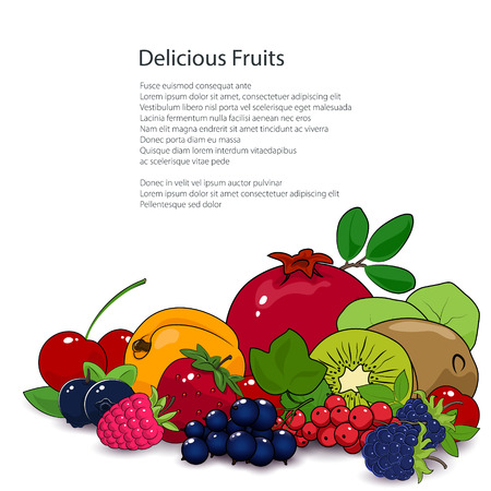 dewberry: Fresh Summer Tropical Fruits and Berries Isolated on White Background and Text, Healthy Food and Natural Organic Concept Illustration
