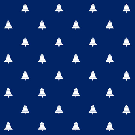 White Ship Bell on Blue Background, Seamless Marine Pattern ,Travel and Tourism Concept , Vector Illustration