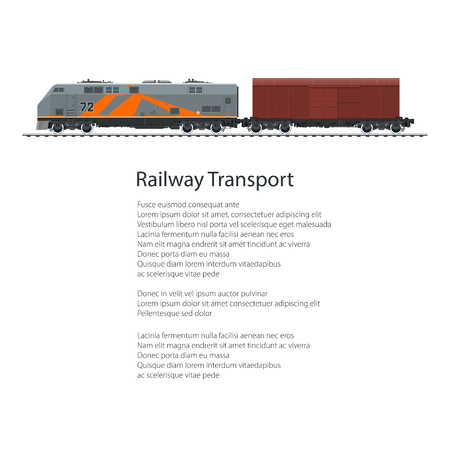 boxcar: Poster Locomotive with Closed Wagon , Cargo Train Isolated on White Background and Text, Overland Railway and Cargo Transport, Vector Illustration