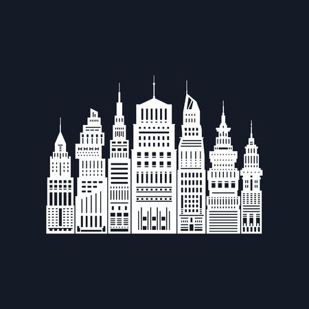 White Silhouette Modern Big City on Black Background.