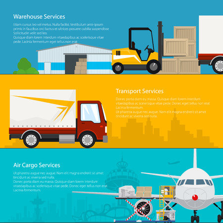 Set of Horizontal Transportation Services and Storage Banners, Warehouse ,Transport and Air Cargo Services, Air and Land Freight, Cargo Delivery