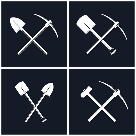 White Tools for Excavation and for Percussion Works Isolated on Black Background Vectores