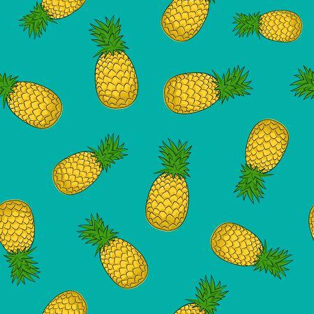 Seamless Pattern of Pineapple , Fruit Ananas on Azure Background, Vector Illustration