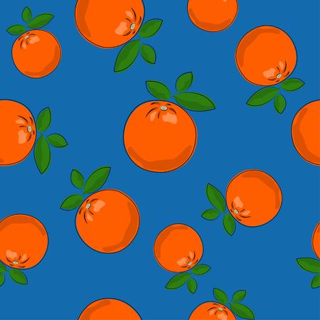 Seamless Pattern of Orange , Fruit Citrus on Blue Background, Vector Illustration