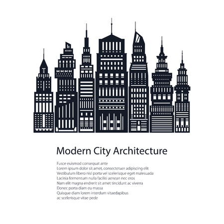 megapolis: Modern Big City, Poster Architecture Megapolis with Buildings and Skyscraper and Text, City Financial Center , Brochure Design, Black and White Vector Illustration Illustration