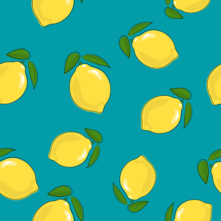 Seamless Pattern of Lemon , Fruit Citrus on Azure Background, Vector Illustration