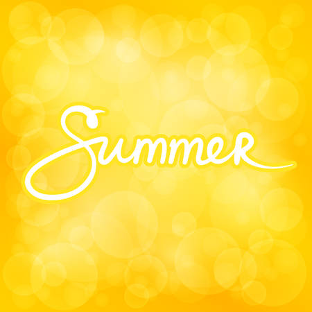 Yellow Soft Bright Abstract Bokeh Background and Text Summer ,Soft Glow of the Sun , Defocused Lights, Summer Time, Vector Illustration Illustration