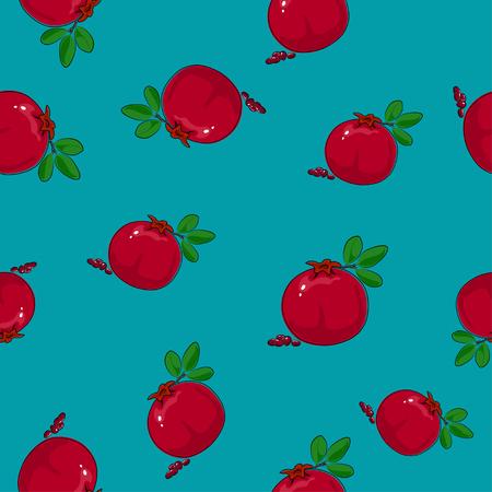 Seamless Pattern of Pomegranate, Fruit on Azure   Illustration. Illustration