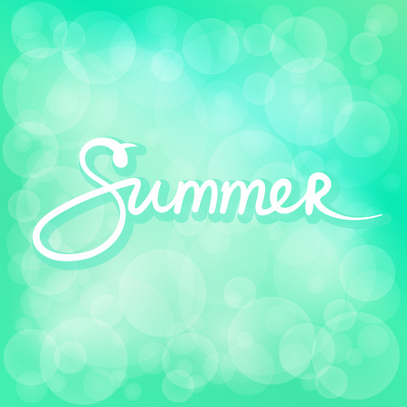 Green Soft Bright Abstract Bokeh Background and Text Summer ,Soft Glow of the Sun , Defocused Lights, Summer and Spring Time, Vector Illustration Ilustração