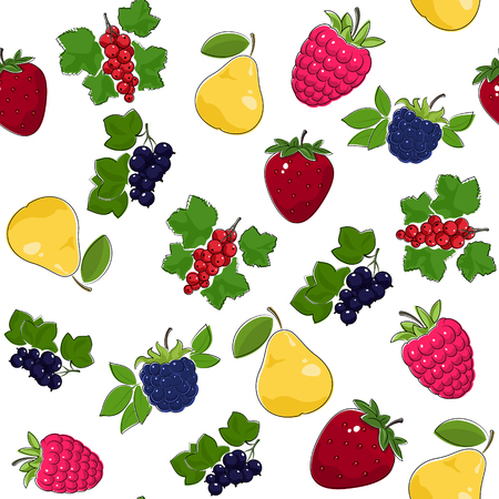 Fruit Berry Seamless Pattern , Juicy Pear and Red Strawberry , Pink Raspberries with Fresh Blackberry, Ripe Blackcurrant and Redcurrant, Vector Illustration Illustration