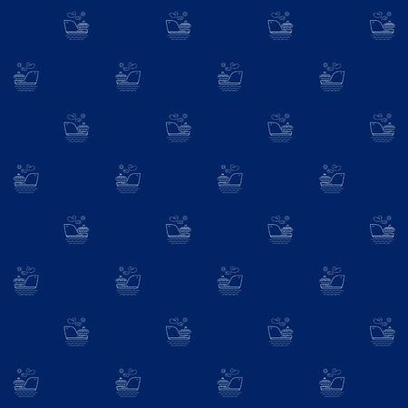 White Vessel on Blue Background, Seamless Sea Travel Pattern, Line Style Design, Vector Illustration