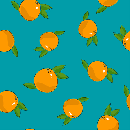 Seamless Pattern of Grapefruit , Citrus Fruit on Azure Background.