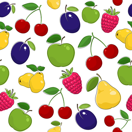 Fruit Berry Seamless Pattern , Juicy Pear and Red Cherry , Pink Raspberries with Fresh Plum, Ripe Apple and Quince, Vector Illustration