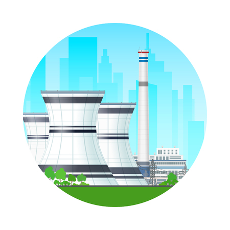 steam turbine: Icon Nuclear Power Plant on the Background of the City, Thermal Station and Power Lines, Nuclear Reactor Supplies Electricity to the City, Vector Illustration
