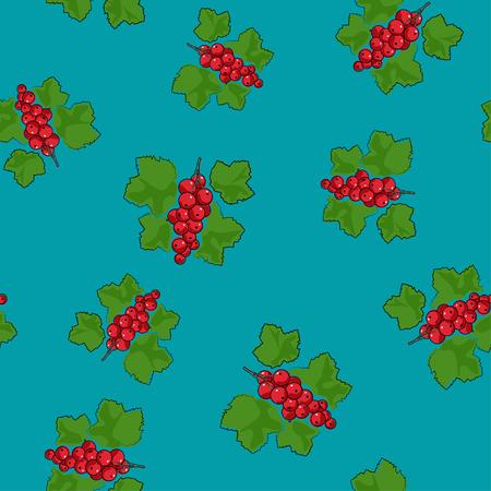 Seamless Pattern of Redcurrant , Fruit Berry on Azure Background, Vector Illustration. Illustration