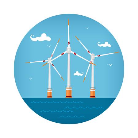 Round Icon Wind Turbines at the Sea, Horizontal Axis Wind Turbines at the Sea off the Coast , Offshore Wind Farm Icon, Vector Illustration