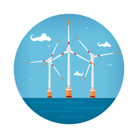 Ronde pictogram windturbines op de zee, horizontale as windturbines op de zee voor de kust, offshore windmolenpark pictogram, vectorillustratie