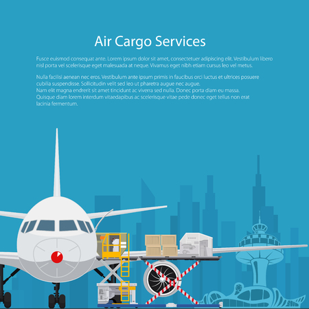 Poster Air Cargo Services and Freight, Airplane with Autoloader at the Airport on the Background of the City and Text, Unloading or Loading of Goods into the Plane, Flyer Brochure Design, Vector
