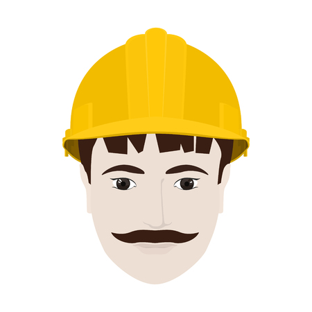 man's: Working Man in a Hard Hat, Mans Face with a Mustache in Yellow Safety Helmet on White Background , Vector Illustration