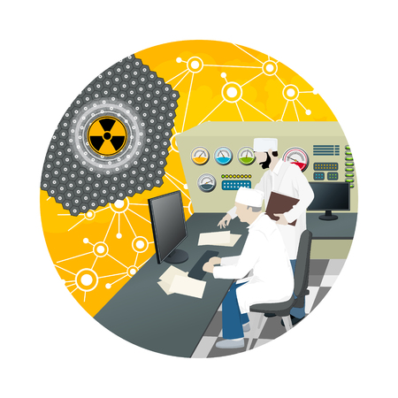 hazard: Icon People near the Control Panel on a Thermal Power Station , Nuclear Power Plant, Radiation Sign, Vector Illustration