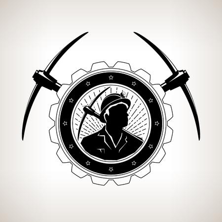 Emblema de la vendimia de la minería, minero sosteniendo un pico en un engranaje con dos piquetas cruzadas, etiqueta y divisa eje de la mina sobre un fondo claro, ilustración vectorial