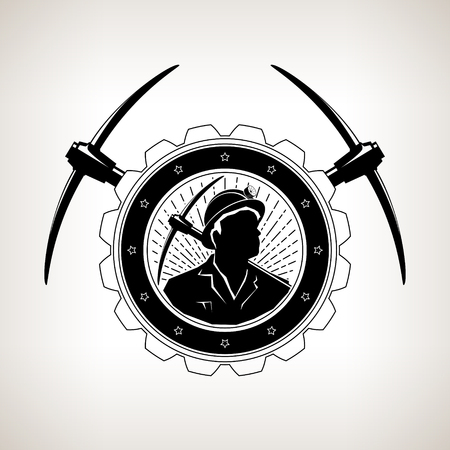 Emblema de la vendimia de la minería, minero sosteniendo un pico en un engranaje con dos piquetas cruzadas, etiqueta y divisa eje de la mina sobre un fondo claro, ilustración vectorial Foto de archivo - 80092679