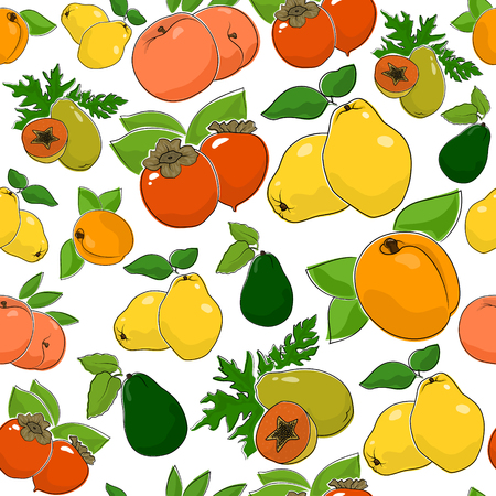 Fruit Berry Seamless Pattern , Juicy Peach and Sweet Apricot , Quince with Fresh Persimmon, Ripe Papaya and Avocado, Vector Illustration