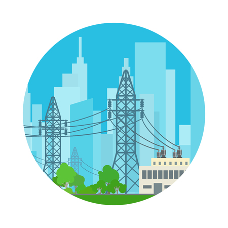 low energy: Icon High Voltage Power Lines Supplies Electricity to the City, Vector Illustration Illustration